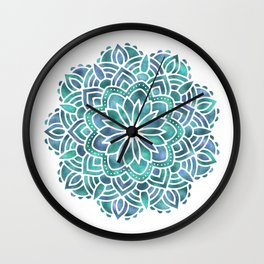 Mandala Succulent Blue Green Wall Clock