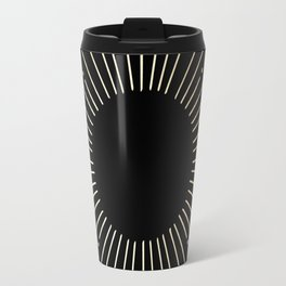 Sunburst Gold Copper Bronze on Black Travel Mug