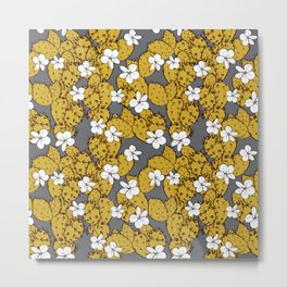 cactus with flowers sketch golden mustard, black contour on Gray background. simple ornament Metal Print