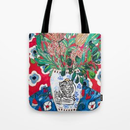 Rex Manning Day Red Floral Still Life with Lion Vase Tote Bag