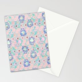 Lotus flower - powder pink woodblock print style pattern Stationery Cards
