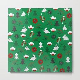 Christmas joy with little rabbits Metal Print