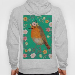 Robin Bird with flowers Hoody