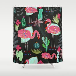 Flamingo and Cactus. Tropical Flowers Pattern Shower Curtain
