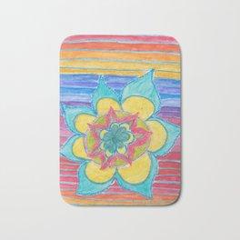 Joy - flower mandala with rainbow Bath Mat