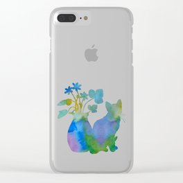 Cat And Flowers Clear iPhone Case