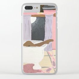 Soaking in a Clawfoot tub Clear iPhone Case