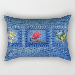 Denim Square Patches Rectangular Pillow