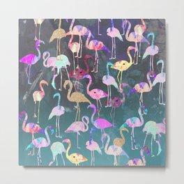 After Dark Flamingo Party  Metal Print
