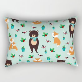 Christmas pattern with bears, foxes and birds #society6 #homedecor Rectangular Pillow
