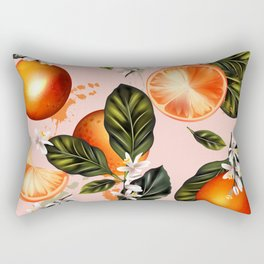 Citrus paradise. Tropical pattern with oranges Rectangular Pillow
