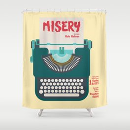 Misery, Horror, Movie Illustration, Stephen King, Kathy Bates, Rob Reiner, Classic book, cover Shower Curtain