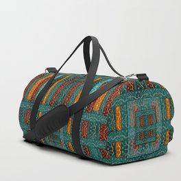 """""""Blue vintage textile patches"""" Duffle Bag"""