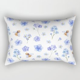 Elegant lavender brown watercolor honey bee floral Rectangular Pillow