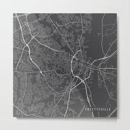 Fayetteville Map, USA - Gray Metal Print