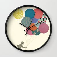 cassia beck Wall Clocks featuring Party Girl by Cassia Beck