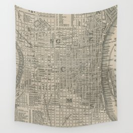 Vintage Map of Philadelphia PA (1844) Wall Tapestry