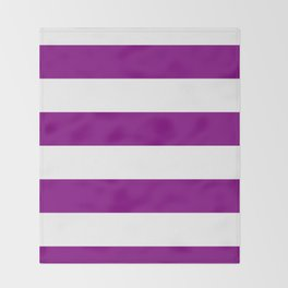 Wide Horizontal Stripes - White and Purple Violet Throw Blanket