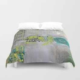 Teal & Lime Round Abstract Art Collage Duvet Cover