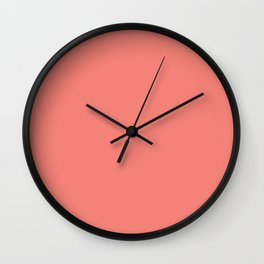 Coral Pink Solid Color Wall Clock