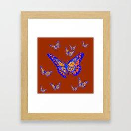 CHOCOLATE COLOR & BLUE-GOLD MONARCH BUTTERFLIES Framed Art Print