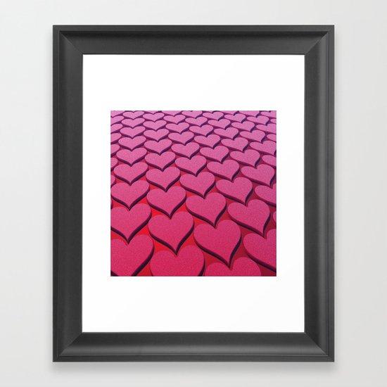 Textured 3D Heart Pattern Framed Art Print
