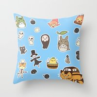 ghibli Throw Pillows featuring studio ghibli  by skymerol
