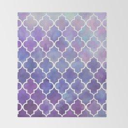 Purples & Pinks Watercolor Moroccan Pattern Throw Blanket