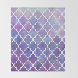 Purples & Pinks Watercolor Moroccan Pattern Throw Blanket