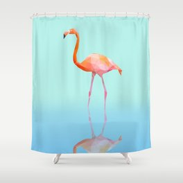 Low Poly Flamingo with reflection Shower Curtain
