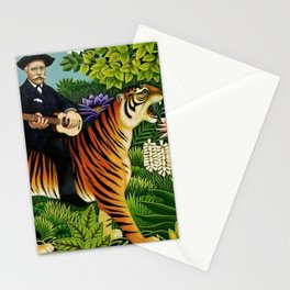 Henri Rousseau Dreaming of Tigers tropical big cat jungle scene by Henri Rousseau Stationery Cards