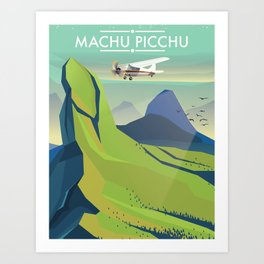 machu picchu travel poster Art Print