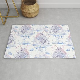 Watercolor unicorn in the sky Rug