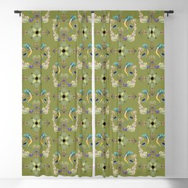 Tropical brocade Celtic knot work with succulent floral and lizards on a green background Blackout Curtain
