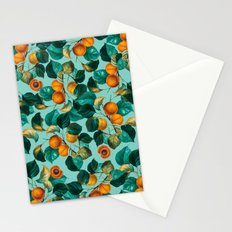 Peach and Leaf Pattern Stationery Cards