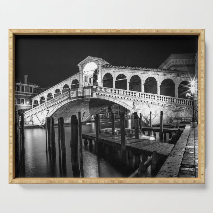VENICE Rialto Bridge at Night   Monochrome Serving Tray