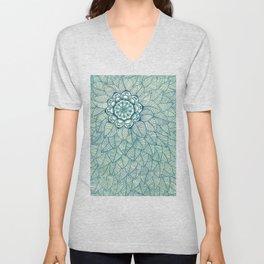 Emerald Green, Navy & Cream Floral & Leaf doodle Unisex V-Neck