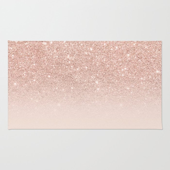 Rose Gold Faux Glitter Pink Ombre Color Block Rug By