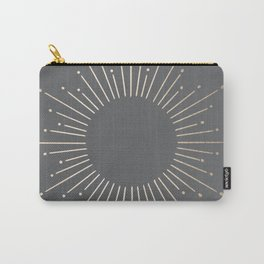 Simply Sunburst in White Gold Sands on Storm Gray Carry-All Pouch