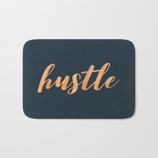 Hustle Text Copper Bronze Gold and Navy Bath Mat