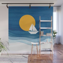 A sailboat in the sea Wall Mural