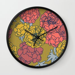 Peonies in Living Coral Wall Clock