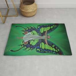 Art Nouveau Vintage Flapper With Butterfly Wings Rug