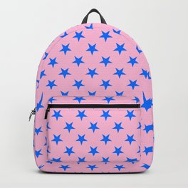 Brandeis Blue on Cotton Candy Pink Stars Backpack