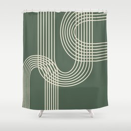 Minimalist Lines in Forest Green Shower Curtain