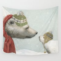 hats Wall Tapestries featuring First Winter by Eric Fan