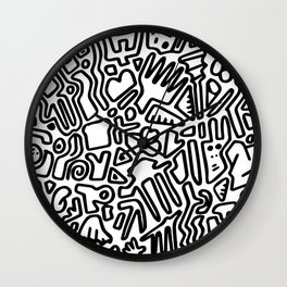 black & white doodle Wall Clock