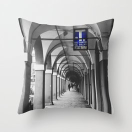 Blue Tabacchi Street Photography in Bologna Throw Pillow