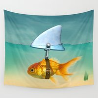 volkswagen Wall Tapestries featuring gold fish by mark ashkenazi