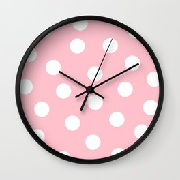 Polka Dots - Bubble Gum and White Wall Clock